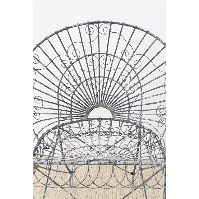 Set of Four French Iron and Wire Garden Chairs For Sale - Image 4 of 13