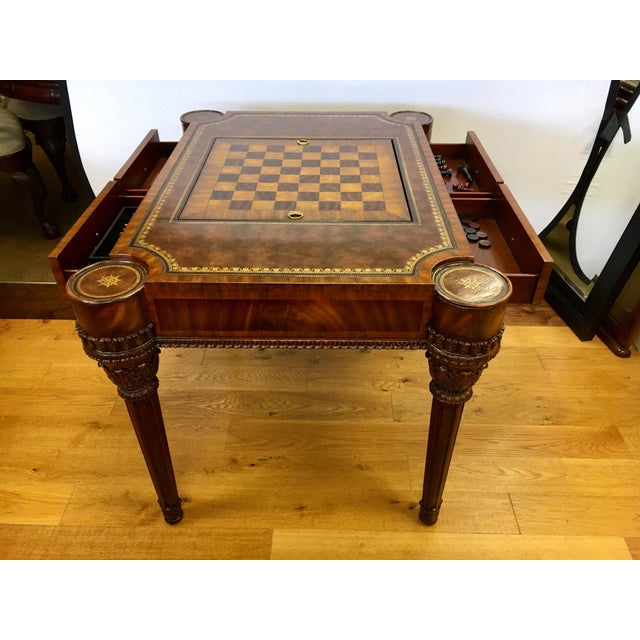 Animal Skin Maitland-Smith Carved Mahogany Game Table With Leather Top For Sale - Image 7 of 13