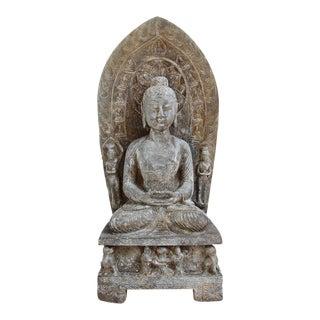 Stone Buddha Plaque Statue For Sale