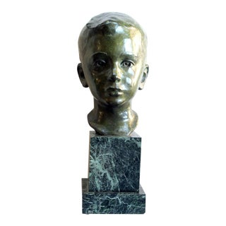 A Beautifully Rendered American 1940's Bronze Bust of a Young Boy; by JG Kendall For Sale