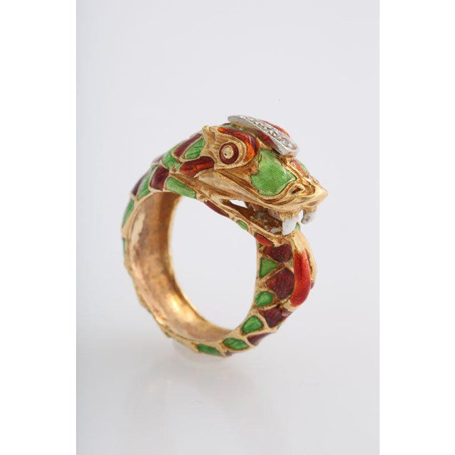 Italian Green and Red Enamel Snake Ring For Sale - Image 4 of 7