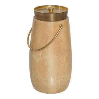Aldo Tura Mid-Century Modern Goatskin Bronze Hardware Ice Champagne Bucket For Sale