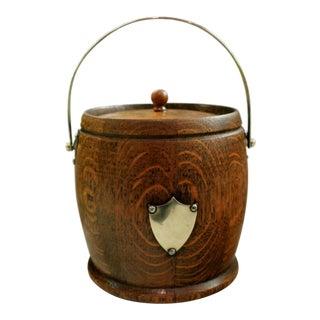 Antique English Oak Biscuit Barrel Shield Glazed Ceramic Jar Interior Oak Lid For Sale