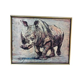 1970s Vintage African White Rhinoceros Fritz Hug Lithograph on Board For Sale