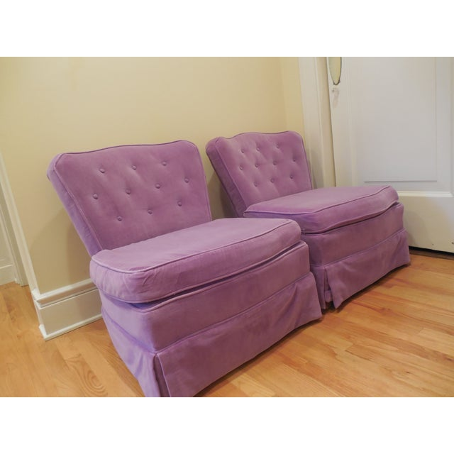 Hollywood Regency Lilac Velvet Vintage Chairs - A Pair For Sale - Image 3 of 8