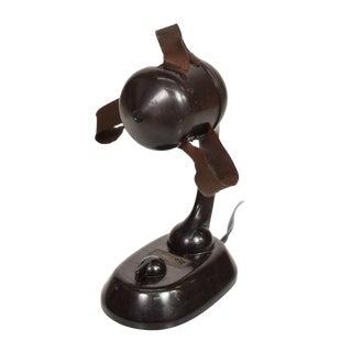 Art Deco Vintage Electric Fan Ribbonaire by Singer Brown Bakelite For Sale