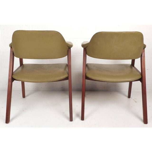 1970s Mid-Century Modern Vinyl Barrel Back Chairs For Sale - Image 5 of 10