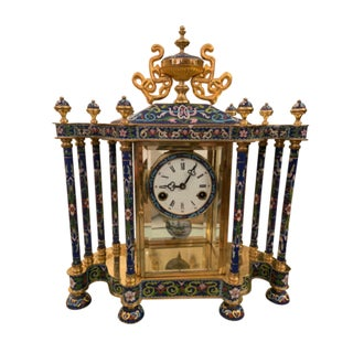 Mid Century Chinese Cloisonné Mantel Clock For Sale