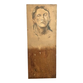 Woman Oil on Wood Sketch For Sale