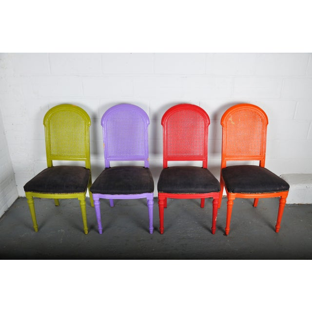 1970's Vintage French Multicolor Dining Chairs With Cane Back - Set of 4 For Sale - Image 13 of 13