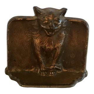 Antique Gothic Cat Cast Iron Bookend For Sale