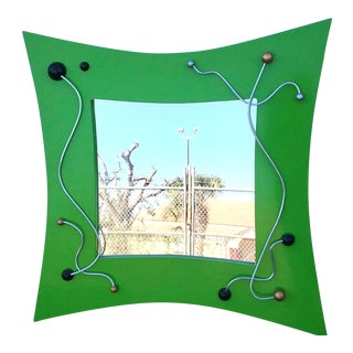 Modern Green Mirror With Metal Accent For Sale