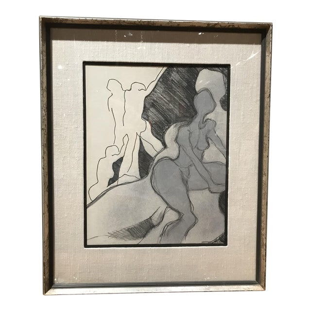 Mid Century Abstract Nude Drawing For Sale
