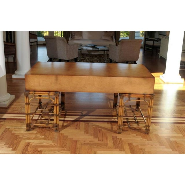 Stunning Restored Vintage Double Pedestal Campaign Desk in Birdseye Maple For Sale - Image 9 of 11