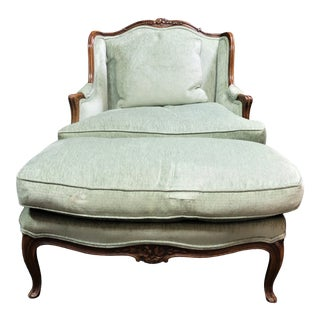 Louis XV Style Walnut Bergere & Ottoman For Sale