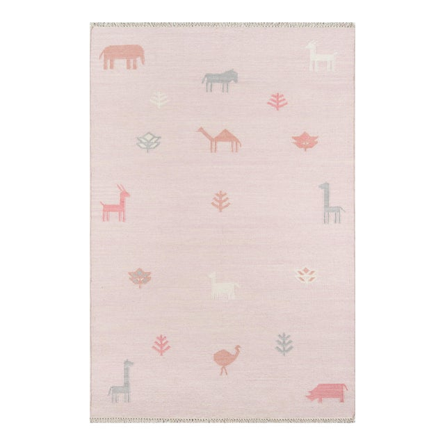 """Erin Gates by Momeni Thompson Porter Pink Hand Woven Wool Area Rug - 3'6"""" X 5'6"""" For Sale"""