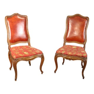 Pair of French Louis XV Style Carved Walnut Tall Back Side Chairs For Sale