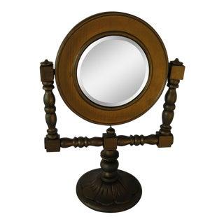 Vintage Turned Wood Painted Gold Pedestal Vanity Mirror For Sale