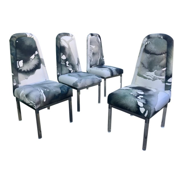 1960s Charles Hollis Jones Lucite Legs Chairs - Set of 4 For Sale