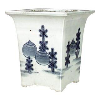 Asian Chinese Style Square Blue and White Porcelain Cachepot- A Pair For Sale