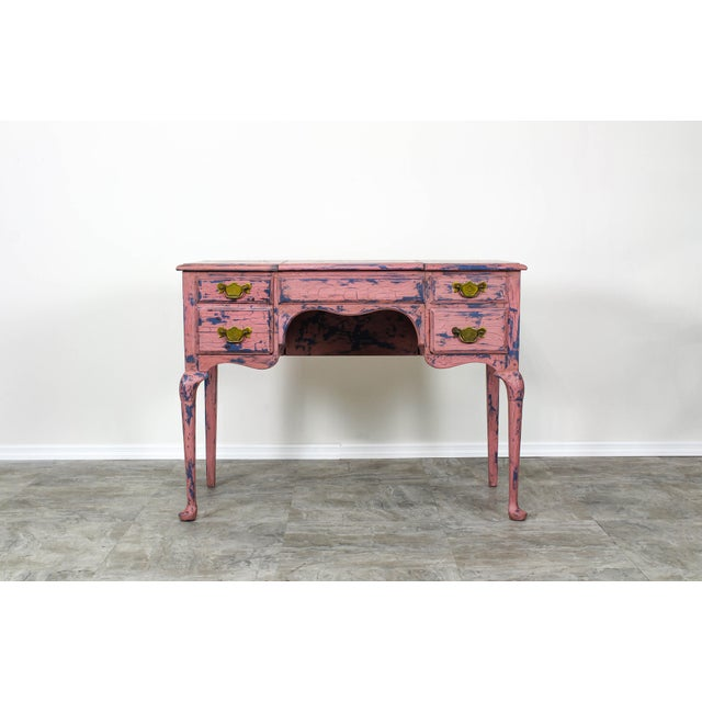 French Provincial Vanity, Provincial Dressing Table, Shabby Chic Vanity Desk, Pink Vanity, Mid Century Vanity Desk, Vintage Vanity For Sale - Image 10 of 12