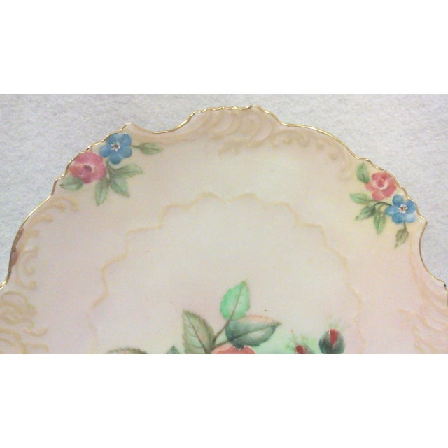 Selesia Germany Hand Painted Porcelain Floral Cabinet Plate For Sale - Image 4 of 4