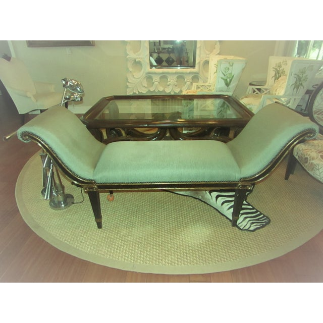 "Marge Carson ""Iona"" Seafoam Upholstered Bench For Sale In West Palm - Image 6 of 6"