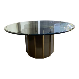 Round Brass Barrel Mastercraft Dining Table Base With Glass Top For Sale