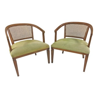 Vintage Fruitwood & Caned Barrel Lounge Chairs - a Pair For Sale