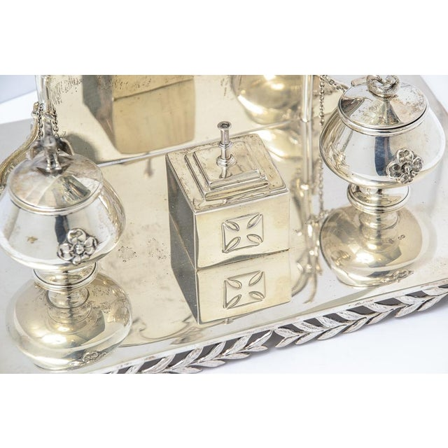English Sterling silver inkstand. C.1877-1895. English hallmarks of Messrs.Barnard, WBJ weighing 32 troy ounces. The stand...