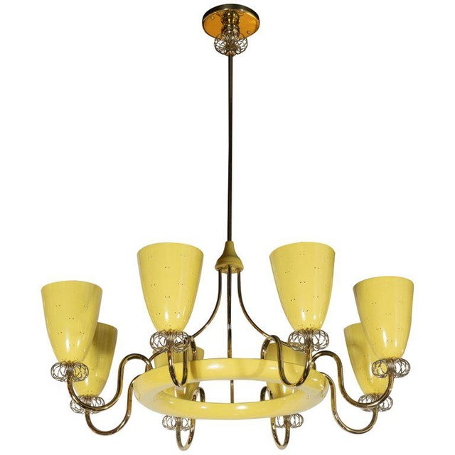 Brass French Mid-Century Modern Brass and Yellow Enamel Eight-Arm Chandelier For Sale - Image 7 of 7