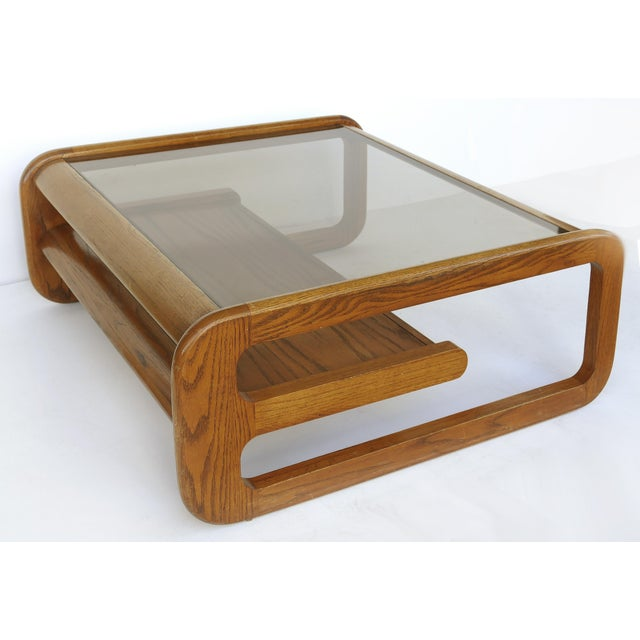 Brown Lou Hodges Mid-Century Modern California Coffee Table With Inset Glass For Sale - Image 8 of 8