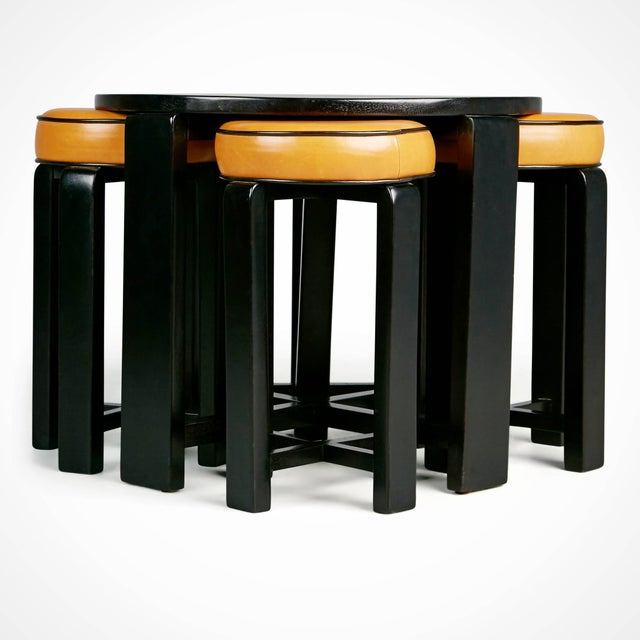 1940s French Art Deco Cocktail Nesting Table and Leather Stools Set For Sale - Image 4 of 11