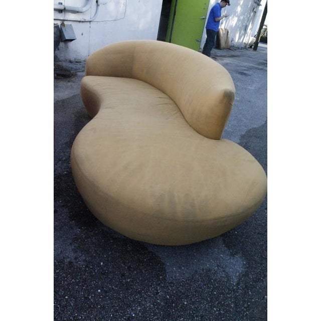 Red Curved Kidney Chrome Ultrasuede Sofas - A Pair For Sale - Image 8 of 11