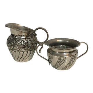 Silver Sugar & Creamer Set - A Pair For Sale