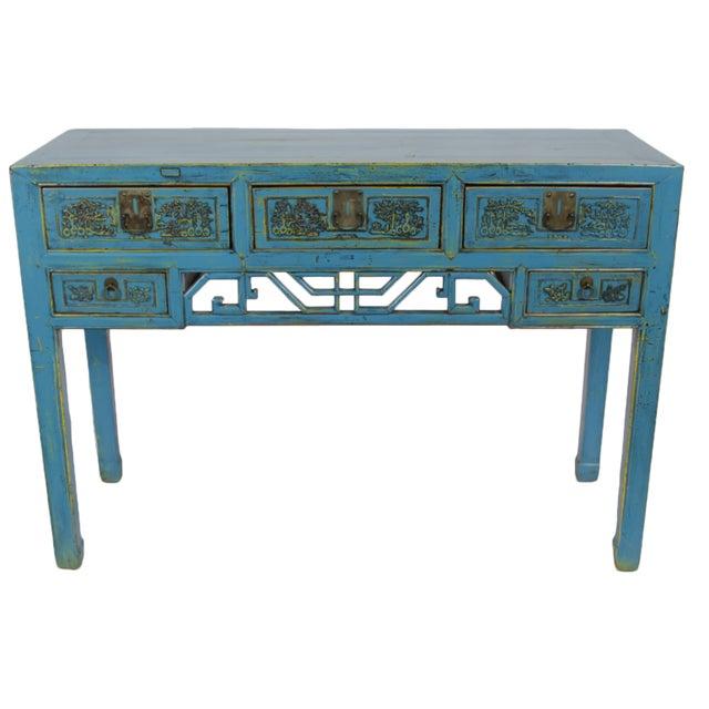 Antique Hand-Carved Blue Desk For Sale
