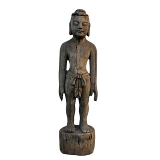Late 19th Century Asian Antique Acupuncture Man Wooden Statue