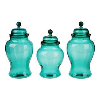 Glass Ginger Jar Style Lidded Vases - Set of 3