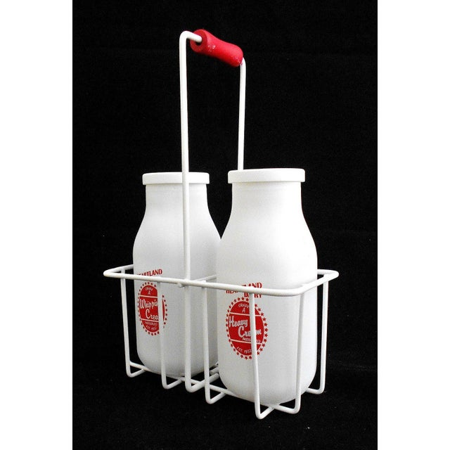 Retro White Glass Cream Bottles and Metal Carrier - Image 3 of 10