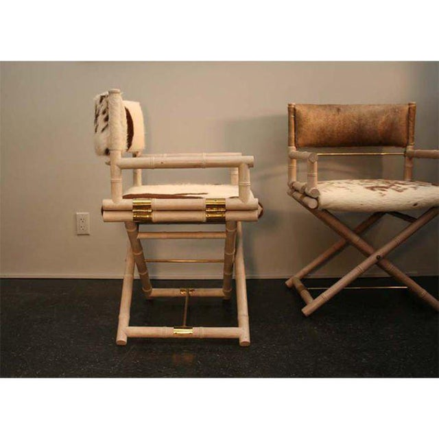 Traditional Pair of Faux Bamboo and Brass Directors Chairs For Sale - Image 3 of 3