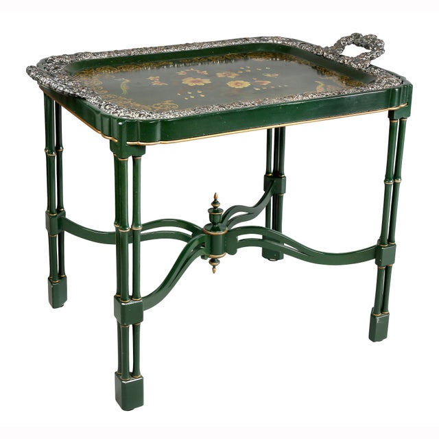 Victorian Papier Mache and Silver Plated Tray Table For Sale - Image 13 of 13