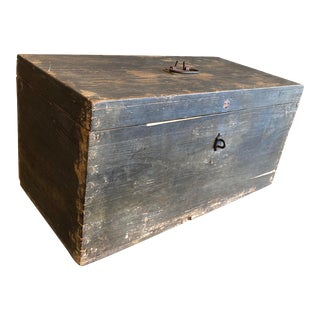 Antique Primitive Wood Storage Box For Sale