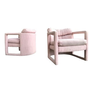 Pair of Drexel Parson Style Lounge Chairs in Pink Baughman Era For Sale