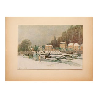 """1930s Alfred Sisley, Rare Original """"Marly, the Lock"""" Lithograph For Sale"""