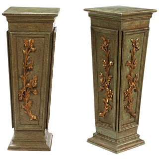 Pair Italian Neoclassical Style Green Painted Pedestals For Sale