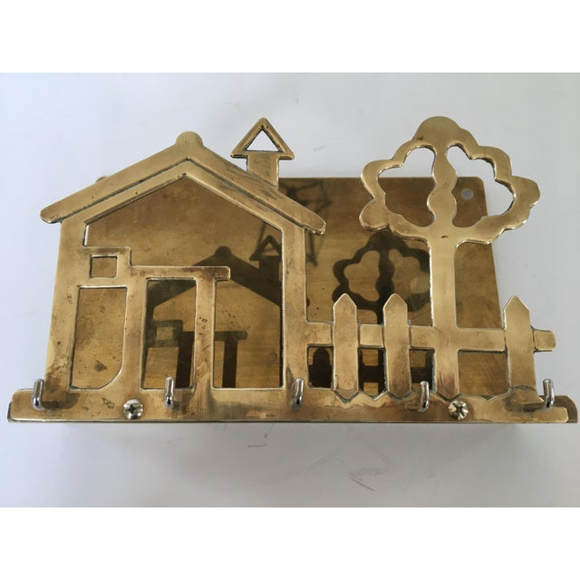 Mid 20th Century Mid-Century Brass House & Fence Letter Holder and Key Rack For Sale - Image 5 of 9
