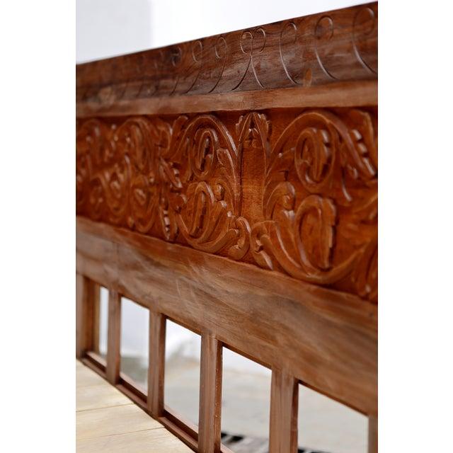 Floral Hand Carved Teak Daybed - Image 5 of 10