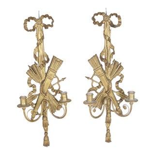 Arrow Motif French Louis XVI Style Sconces - a Pair For Sale