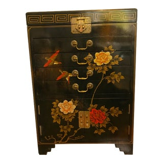 1960s Chinoiserie Green Wooden Cabinet Chest For Sale