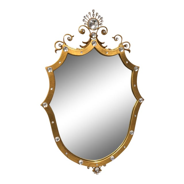 French Style Shield Mirror With Crystals For Sale
